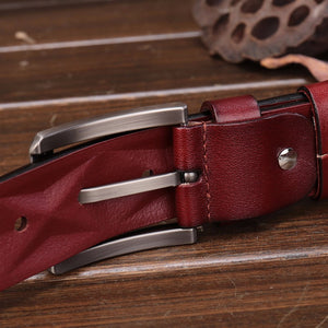 Diamond Shape Embossed Men Leather Belt - FanFreakz
