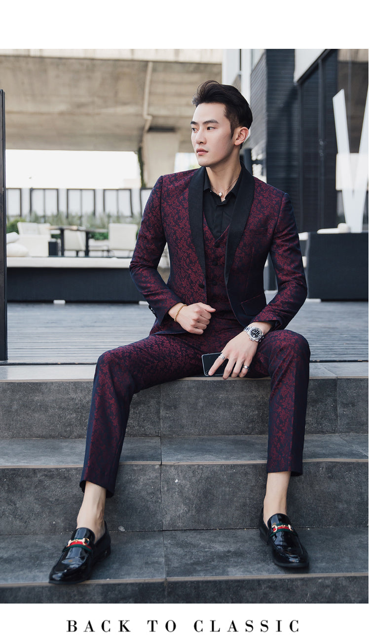 Contrast Black Collar Wine Red Patterned Men Slim Fit Suit Set with Vest and Trouser - FanFreakz
