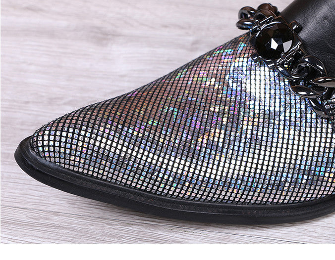 Black Pointed Toe Sparkling Half Part with Chain Ornament Men Leather Shoe - FanFreakz