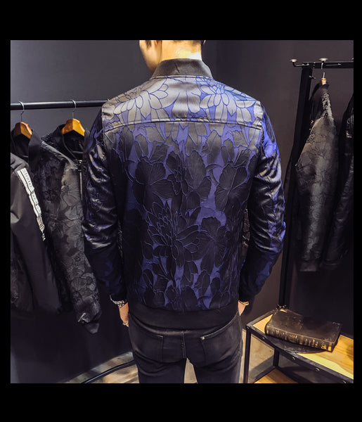 Dark Unique Patterns Men Slim Fit Bomber Jacket