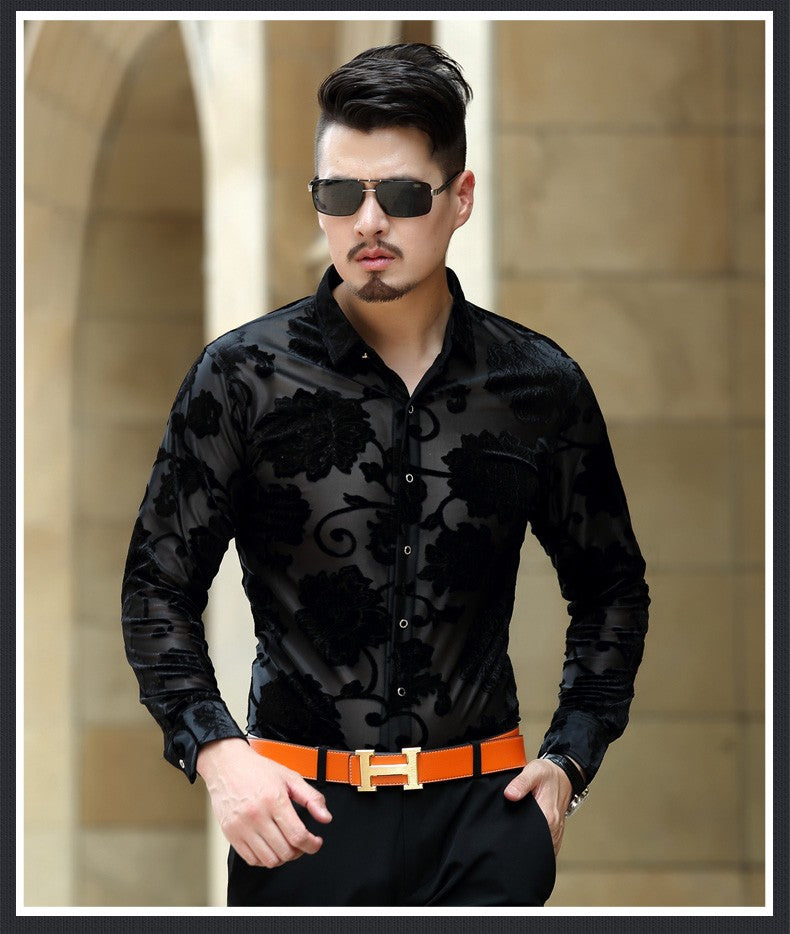 Semi Transparent Dark Floral Pattern Men Long Sleeves Velvet Shirt - FanFreakz