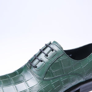 Exotic Green Croco Pattern Men Lace Up Oxford Shoes - FanFreakz