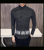 Dot Print with Floral Waist Pattern Men Long Sleeve Shirt