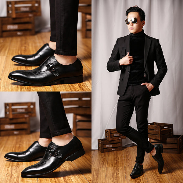 Single Monk Strap Men Formal Dress Shoes With Patch Detail Fanfreakz