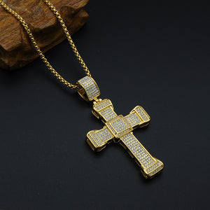 Royal Style Rhinestones Men Gold Color Stainles Steel Cross Necklace - FanFreakz