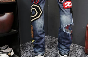 Heavy Workmanship Embroidery Men Slim Fit Jeans - FanFreakz