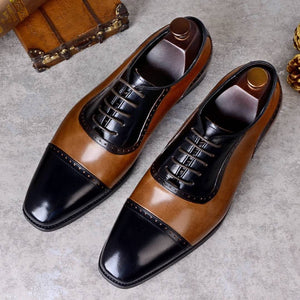 Cap Toe Lace Up Dual Tones Men Leather Oxfords Shoes - FanFreakz