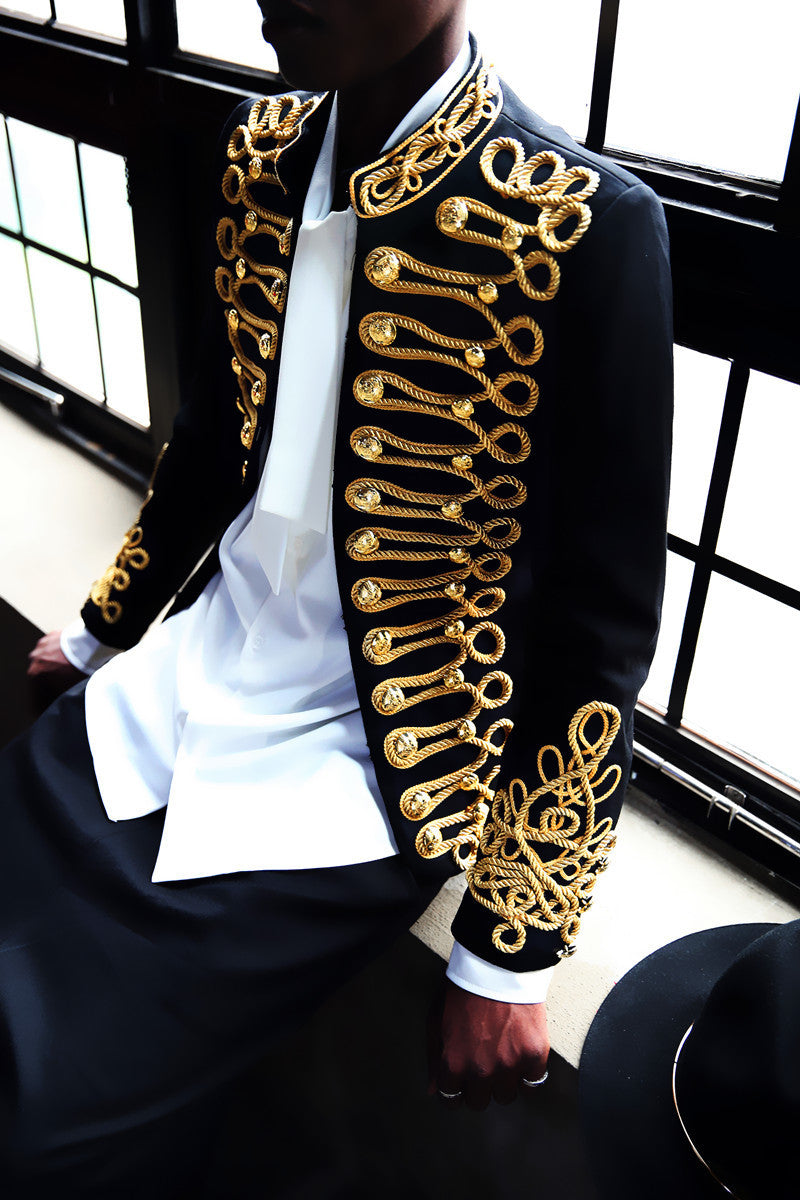 Extravagant Black and Gold Embroidery Costume Style Men Blazer - FanFreakz