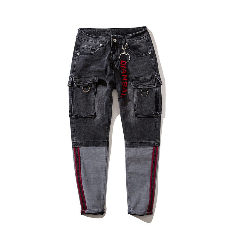Patchwork Spandex Cargo Style Two Side Pockets Men Jeans