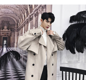Fashionable Double Breasted Solid Colour Men Long Trench Coat