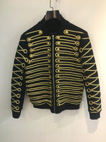 Gold Buckle String Front and Sleeves Detail with Zipper Men Jacket