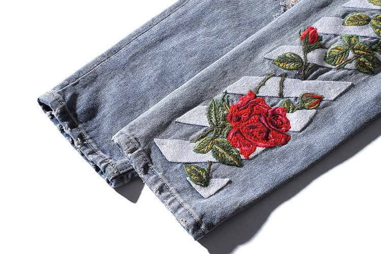 Calf Rose Embroidery Men Slim Straight Jeans - FanFreakz