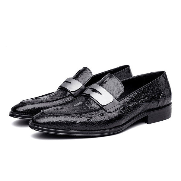 72a2199434 ... Italian Black Brown Tanned Slip on Shoes Men Loafers with Metal Detail  - FanFreakz ...