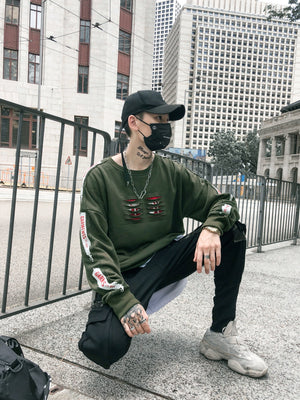 Ripped and Print Street Style Men Oversized Loose Sweater