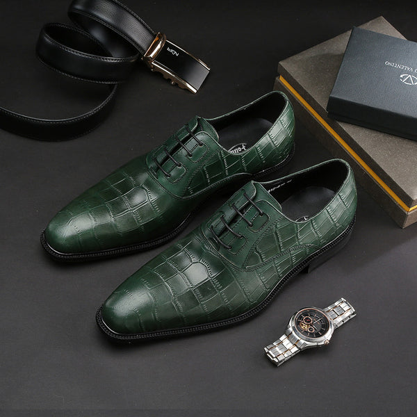 Exotic Green Croco Pattern Men Lace Up Oxford Shoes