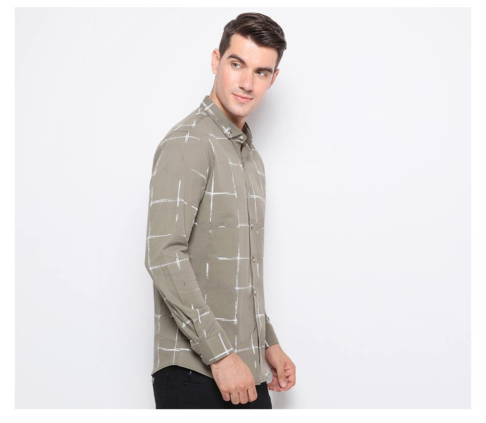 Chalk Stripe Style Plaid Men Long Sleeves Shirt - FanFreakz