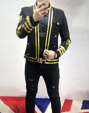 Gold Lines and Embroidery Badges Performer Style Men Black Blazer
