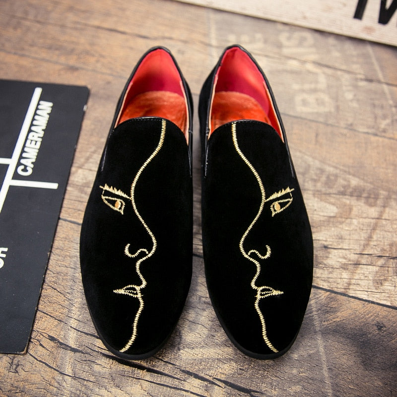 512c0b11c29 Men Simple Loafers With Side Face Embrodiery Details – FanFreakz