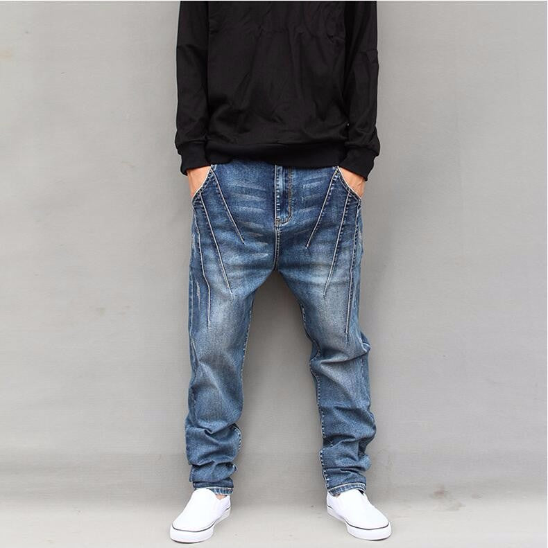 Light Wash Style Men Loose Baggy Stitch Classic Jeans