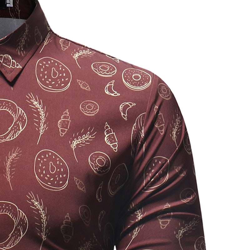 Donut Pattern Print Men Slim Fit Long Sleeves Shirt - FanFreakz