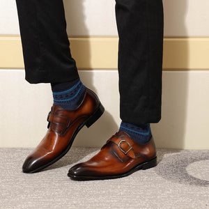 Brown with Gradient Effect Pointed Toe Monk Strap Men Fashionable Formal Shoes - FanFreakz