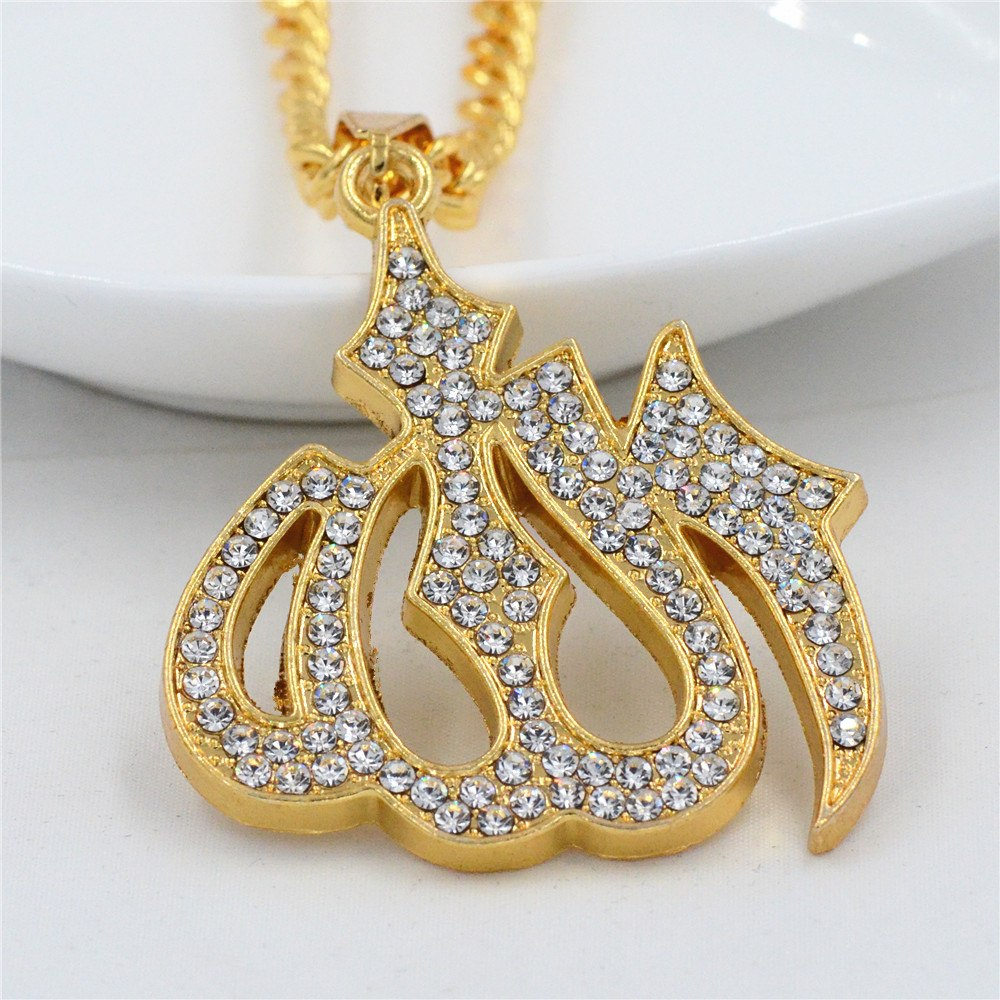Hip Hop Style Allah in Arabic Character Men Pendant Necklace With Gold Color Chain and Cubic Zirconia