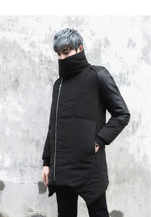 Parkas Rounded High Neck with Leather Split Sleeves Men Warm Jacket