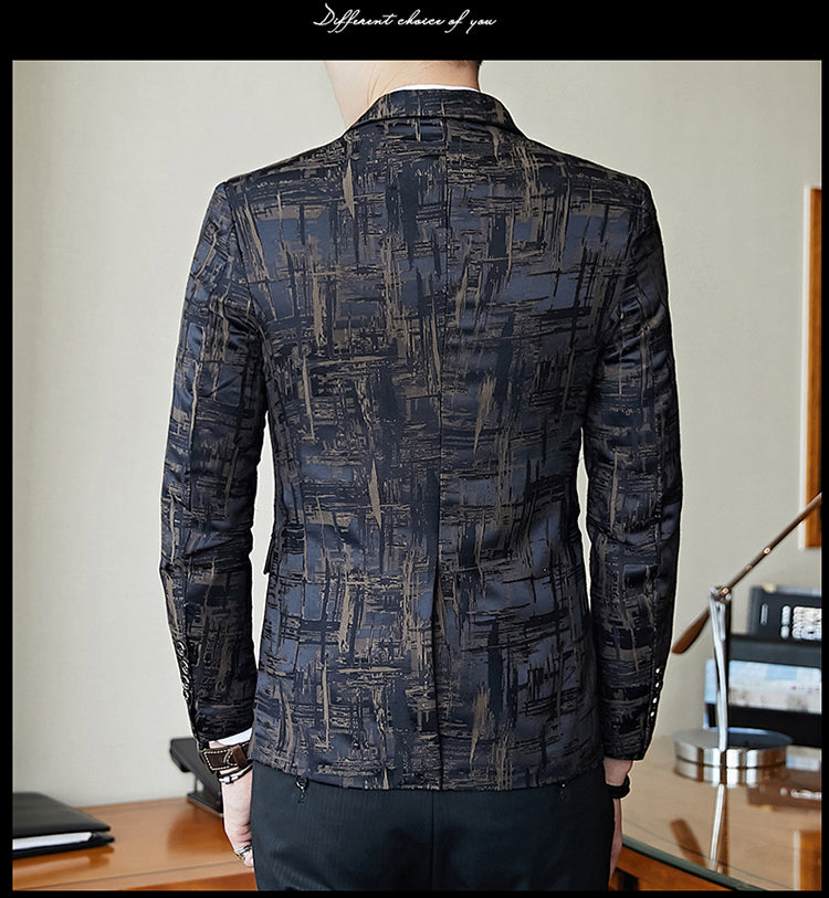 Elegant Dark Print Men Dinner Blazer - FanFreakz
