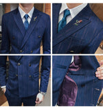 Elegant Double Breasted Vertical Thin Streaks Pattern Men Suit (Blazer, Pants, Vest)