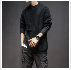 Side Pockets Detail Men Loose Knitted Mens Sweaters