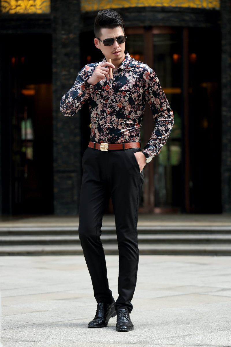 Oriental Floral Art Print Men Velvet Long Sleeve Slim Fit Shirt