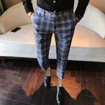 Plaid Business Casual Slim Fit Classic Vintage Men Trouser