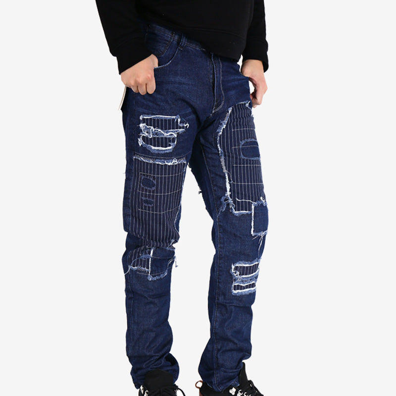 9892bb0d1b715 Ripped Embroidered Patchwork Denim Biker Style Men Jeans – FanFreakz