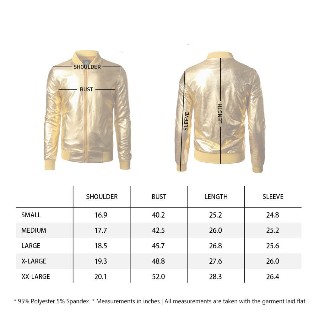 Coated Metallic Night Club Hip Hop Stand Collar Men Baseball Jacket - FanFreakz