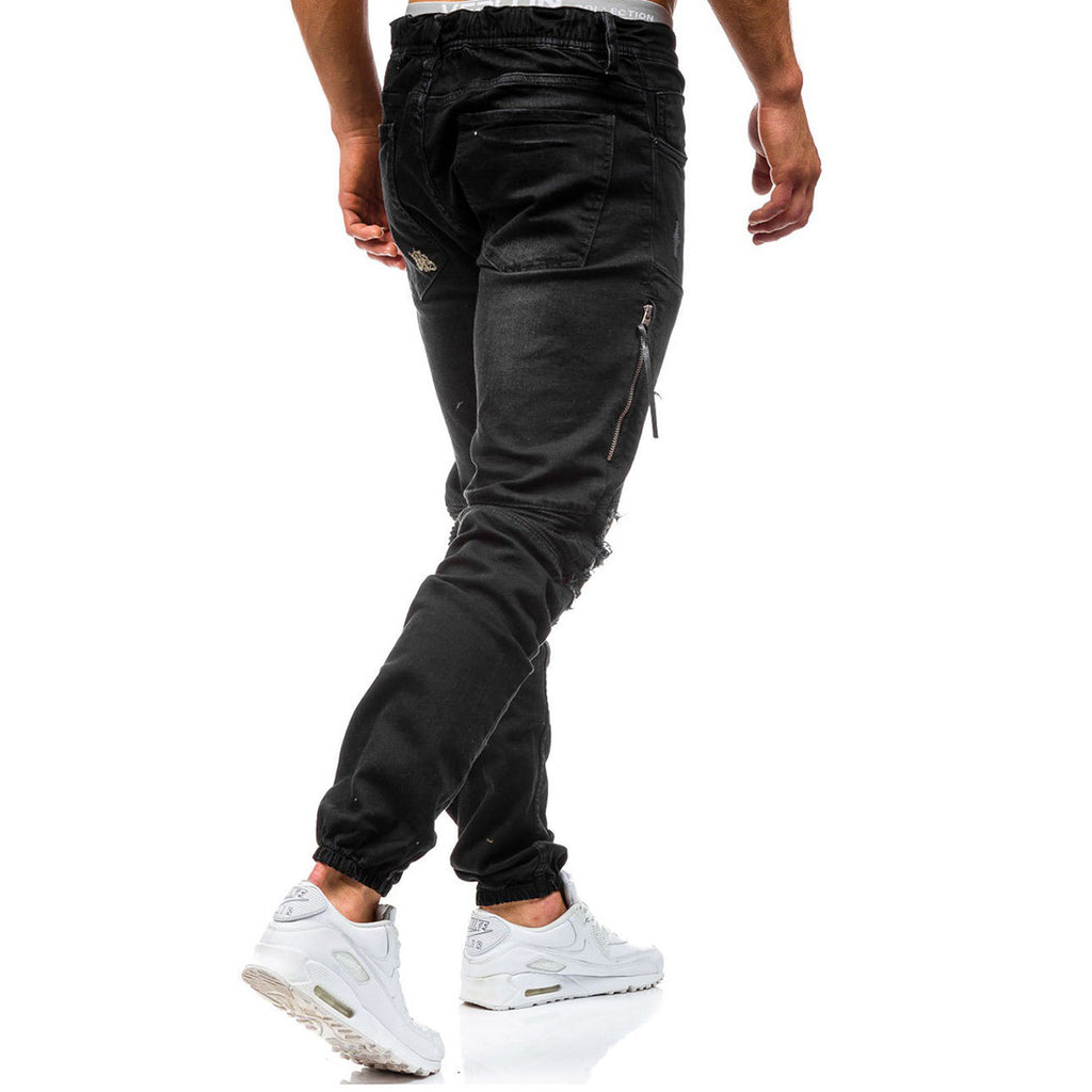 Ripped Knee Cool Damaged Biker Style Men Slim Fit Jogger Pants Jeans - FanFreakz