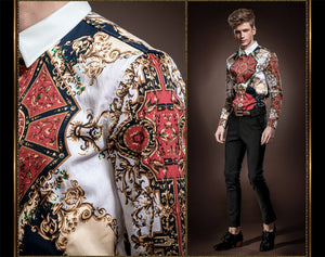 Euro Royal Pattern Men Long Sleeves Dress Shirt - FanFreakz