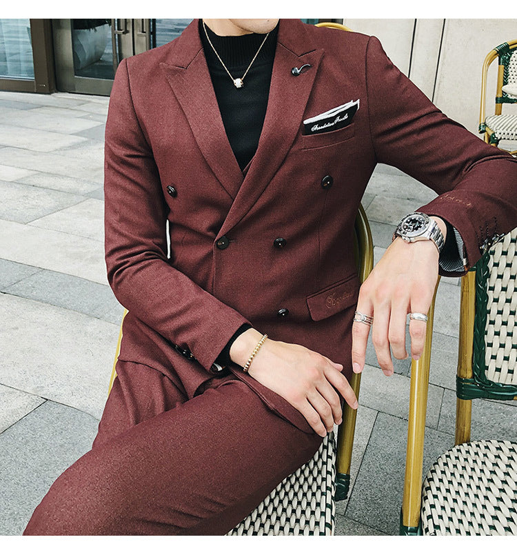 Luxury Italian Style  Men Double Breasted Slim Fit Suit Set