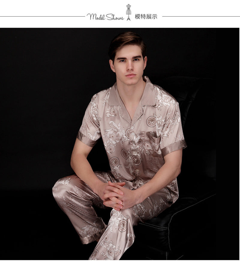 Chinese Dragon Printed Satin Silk Men Pajamas Set - FanFreakz