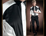 Black & White Patchwork Contrast Men Slim Korean Style Mid-Sleeve Shirt - FanFreakz