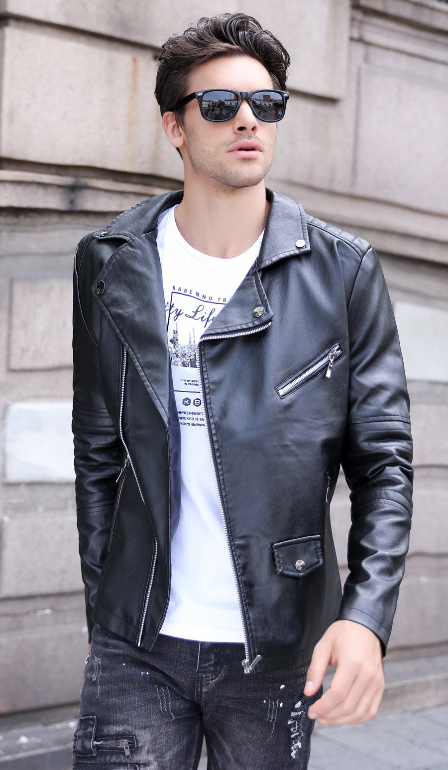 Motorcycle Style PU Leather Men Slim Fit Jacket