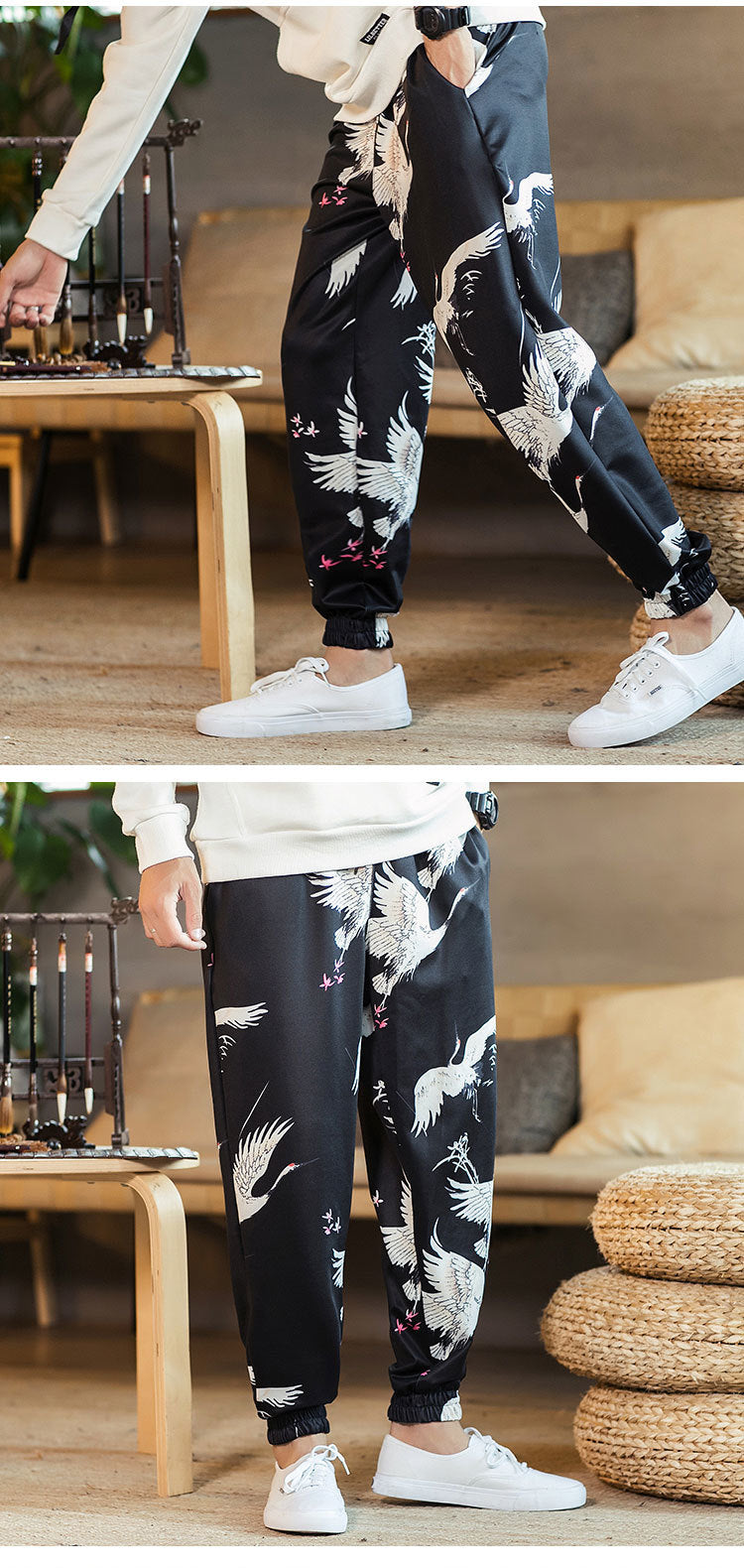 Chinese Style Flamingo Print Men Jogger Pants - FanFreakz