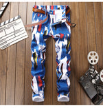 Bluish Paint Pattern Abstract Men Slim Fit Stretch Denim Jeans - FanFreakz