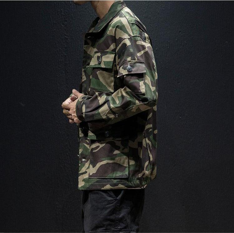 5 Pockets Button Closure Camouflage Military Men Jacket - FanFreakz