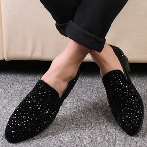 Black Beaded Details Men Flat Loafer Shoes - FanFreakz