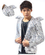 Silvery Sequins Slim Fit With Shoulder Decoration Men Jacket for Show or Stage Performance - FanFreakz