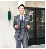 Big Stripes Single Button Men Slim Fit Suit Set Jacket, Vest, and Trousers - FanFreakz