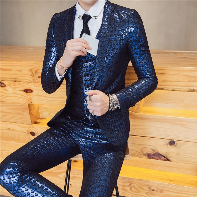 Bright Design with Teardrop Pattern Set for Stage Performer Men Suit (Blazer, Trouser) - FanFreakz