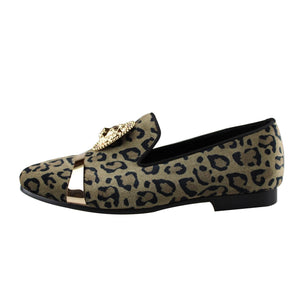 Leopard Print with Lion and Metal Strap Men Velvet Loafer Shoes