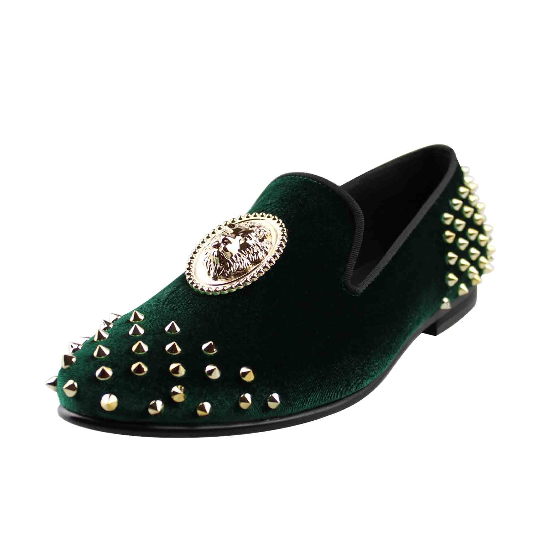 1060320f01112 Velvet Spikes with Lion Medal Men Loafers Shoes – FanFreakz