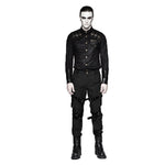 Gothic Punk with Shoulder Buckle Design Men Long Sleeve Shirt
